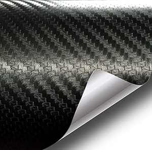 Black 6D Carbon Fiber Vinyl Self Adhesive Film, Waterproof Wrap Roll Without Bubble, Adapted to The Appearance and The Interior of Motorcycles, Computers, Cars -1ft x 10ft
