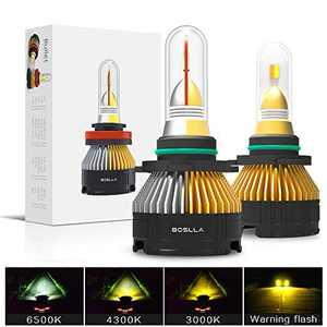 Boslla 9012/HIR2 Headlight Bulb, 3 Color 4 Modes, 6500K/4300K/3000K Light White/Warm/Yellow Light Bulb for Fog Light, 60W 7200 Lumens, Pack of 2