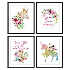 Bestbuddy Pet Set of 4 (8X10) Unframed Watercolor Unicorn Wall Art Prints Unicorn Quotes Girls Room Decor N025
