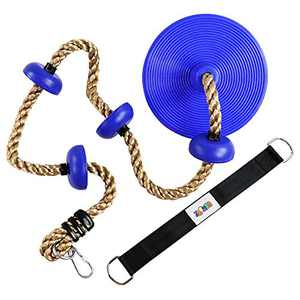 Climbing Rope with Platforms and Dis Swing Seat Set Accessory Including Bonus Hanging Strap & Carabiner Blue