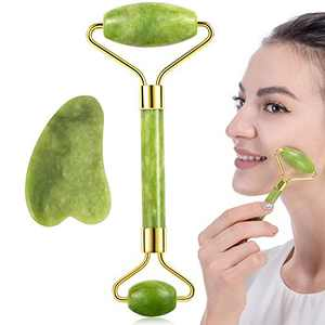Jade Roller for Face and Gua Sha Set Facial Skin Roller Massager Tool - Anti-Aging Treatment - Handcraft Natural Green Jade