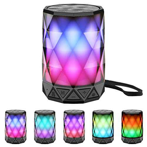LED Portable Bluetooth Speakers with Lights, LFS Night Light Waterproof,Speakers Color Change Computer Speaker,Mic TF Card TWS Support for iPhone Samsung Gaming Christmas (Multi)