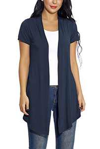 Women's Soft Drape Cardigan Short Sleeves Solid Lightweight Cardigan (M, Navy Blue)