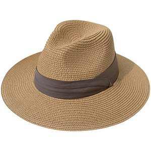 Lanzom Women Wide Brim Straw Panama Roll up Hat Fedora Beach Sun Hat UPF50+ (Z-Light Coffee Ribbon Brown)