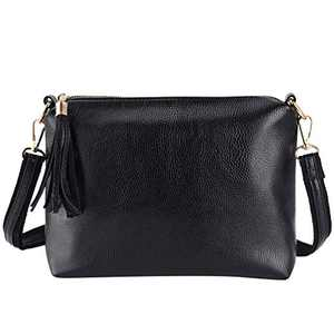 VBIGER Crossbody Bags for Women Medium Casual Shoulder Bag with Tassel PU Leather Black Messenger Bag