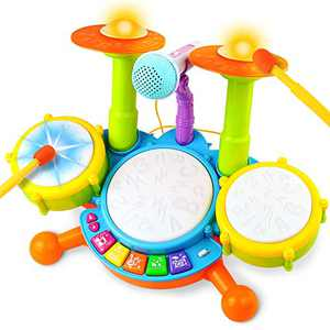 Fajiabao Multifunctional Drum Set Baby Piano Electric Musical Instruments Toy with 2 Drum Sticks Adjustable Microphone Music and Light Family Party Games Birthday Gift for 1 2 3 Years Boys Girls