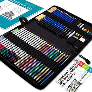 Drawing Watercolor Pencils Art Supplies – 54 Coloring and Sketching Art Set – Each Art Supply Includes Bonus Sketch Book and Digital Library Drawing Tutorials - Pencil Pouch, Graphite Charcoal, Eraser