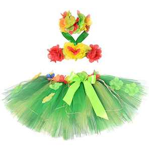 Tutu Dreams Hawaiian Hula Luau Skirt Dress Set for Baby Girls Birthday Beach Party (Green Leaf, 1-2T)