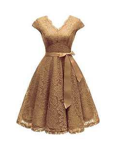 Women's Retro Floral Lace Cap Sleeve Vintage Swing Bridesmaid Dress (M, Sleeveless,Apricot)