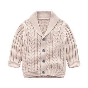 Feidoog Infant Baby Boys Cardigan Crochet Sweater V-Neck,Toddler Knit Button up Knitted Pattern Pullover Sweatshirt,Khaki, 6-12M