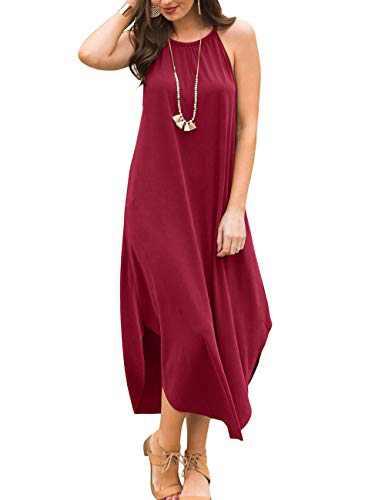 YiNai Women Casual Summer Loose Beach Long Maxi Sundress with Pocket Burgundy XL