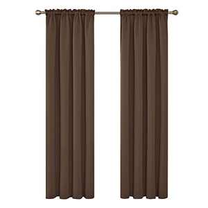 Deconovo 108 Inch Rod Pocket Blackout Curtains Thermal Insulated Energy Efficient Room Darkening Curtain for Living Room 52Wx108L Inch Brown 2 Panels