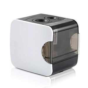 Electric Pencil Sharpener, CyanCloud Double Hole Rechargeable Automatic Pencil Sharpener, Battery or USB Powered for Kids, Artist, and Student (White)