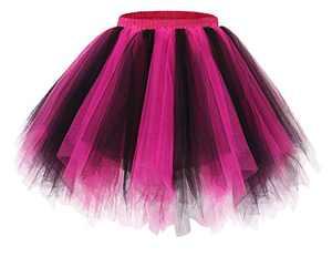 Bridesmay Women's Tutu Skirt 50s Vintage Ballet Bubble Dance Skirts for Cosplay Party Black-Fuchsia M
