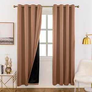 Home Brilliant Total Blackout Panels for Nursery, Heavy Duty and Thick Window Treatment Curtains 63 Inches Long with Black Lined for Basement, Grommet Top (1 Pair, Taupe, 52 Inch Wide Each Panel)