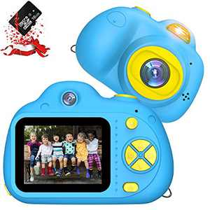 Kids Camera, RegeMoudal Kids Digital Video Camera,1080P FHD Kids Shockproof Video Camcorder with 2 Inch IPS Screen and 16GB SD Card, Choice for Kids 3-10 Years Old Boys and Girls,Blue