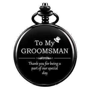 SIBOSUN Groomsmen for Wedding or Proposal - Engraved to My Groomsman Pocket Watch - Wedding (Black)