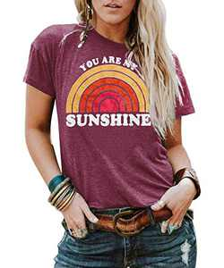 Kaislandy Womens You are My Sunshine T Shirt Short Sleeve Printed Graphic Tees Casual Summer O Neck Tops Shirts, Red, Small
