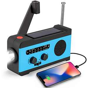 CrazyFire Solar Hand Crank NOAA Weather Radio, Emergency Radio with LED Flashlight and 2000mAh Portable Smart Phone Charger