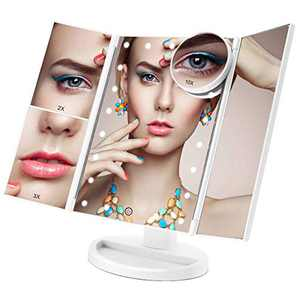 Lighted Makeup Mirror, COSMIRROR Trifold Makeup Vanity Mirror with 21 LED Lights and 1X/2X/3X/10X Magnification, Dual Power Supply, 180° Rotation Cosmetic Mirror (White)