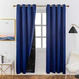 Home Brilliant 100% Blackout Curtain Panels Thermal Insulated Black Liner Curtains for Nursery Room Noise Reducing and Heat Blocking Drapes for Windows (Navy Blue, Set of 2, 52 Inches Wide by 63 Drop)