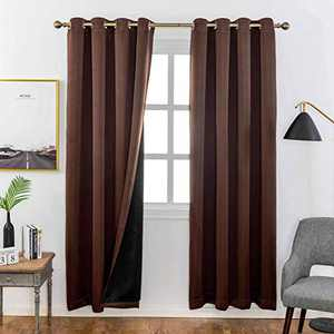 Home Brilliant 100% Blackout Curtains Panel for Bedroom Black Lining Thermal Insulated Window Drapes, 2 Pcs, W 52 x L72 Inches, Brown