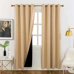 Home Brilliant 100% Blackout Curtains for Privacy Ring Top Drapes Black Lined Insulated Window Treatment Curtain Panels(Biscotti Beige, 2 Pieces, W52 x L72 Inches)