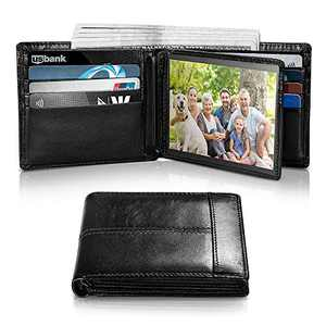 Mens Wallet RFID Genuine Leather Bifold Wallets For Men, ID Window 16 Card Holders Gift Box