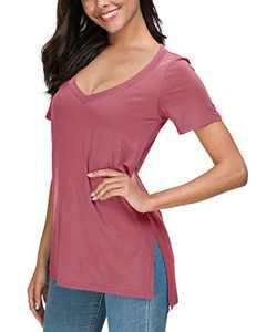 Herou Women Summer Casual Long Sleeve/Short Sleeve Tops T-Shirts Tees with Side Split (2-Rose, Medium)