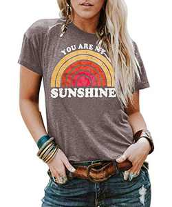 Kaislandy Womens You are My Sunshine T Shirt Short Sleeve Printed Graphic Tees Casual Summer O Neck Tops Shirts, Brown, Small