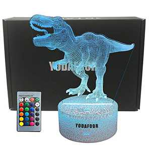 YODAFOOR Night Lights for Kids Trex 3D Night Light Gifts Bedside Lamp 7 Colors Changing with Remote Control Best T-rex Birthday Gifts for Boys Girls Kids Baby (trex)