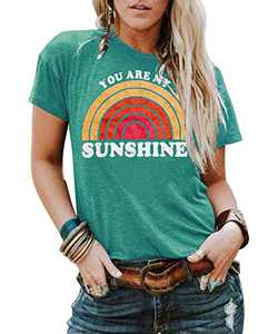Kaislandy Womens You are My Sunshine T Shirt Short Sleeve Printed Graphic Tees Casual Summer O Neck Tops Shirts, Green, X-Large