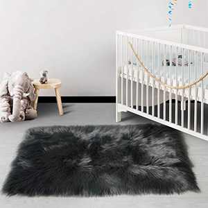 HAOCOO Faux Fur Runner Rug Dark Gray Shag Chair Coach Covers 2'x 4' Fluffy Wool Sheepskin Area Rug Soft Throw Rugs Rectangle Floor Carpet for Bedroom Sofa Bedside Nursery Home Decor