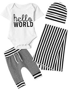 Dramiposs Newborn Baby Boys Hello World Blankets Outfits Black and White Stripes Romper with Hat (White,3-6 Months)