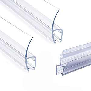 "1/4"" Frameless Glass Shower Door Bottom Seal, Weather Stripping Seal Sweep with Drip Rail for 1/4 Inch(6mm) Glass, 39""Long J+ 2PCS x 39"" Long H-Type (H+J-Type)"