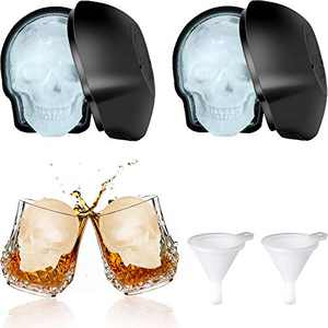 2 Pieces Large 3D Skull Ice Mold Large Silicone Skull Ice Trays with Silicone Funnels Halloween Skull Sugar Mold Day of the Dead Candy Chocolate Fondant Baking Mold for Party Favors