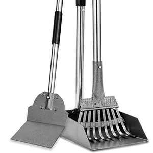 Dog Pooper Scooper, Tray Rake and Spade 3 Pack Poop Scoop Adjustable Long Handle Metal with Bin for Pet Waste Removal, No Bending Clean Up for Large and Small Dogs
