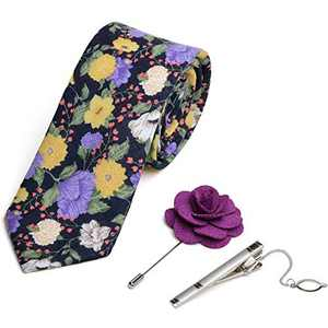 iHomor Men's Cotton Printed Floral Neck Tie Skinny Ties with Stainless Steel Tie Clip and Lapel Pin/Brooch Gift Set (Purlple)