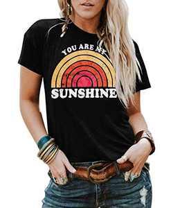 Kaislandy Womens You are My Sunshine T Shirt Short Sleeve Printed Graphic Tees Casual Summer O Neck Tops Shirts, Black, Medium