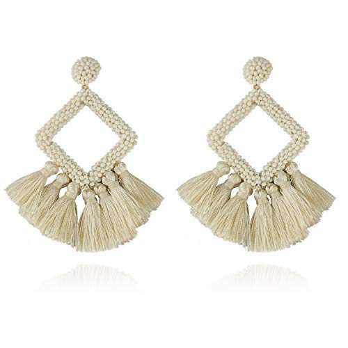 Hoop Tassel Earrings Fashion Stylish Beaded Fringe Dangle Jewelry for Women Ladies Girls