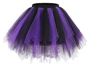 Bridesmay Women's Tutu Skirt 50s Vintage Ballet Bubble Dance Skirts for Cosplay Party Black-Purple L