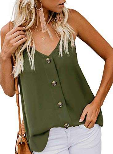 Beauhuty Womens Tank Tops Casual Loose V Neck Sleeveless Strappy Cami Button Down Shirts Blouses (Green, (US18-20) XX-Large)