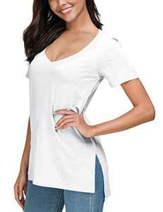 Herou Women Summer Casual Long Sleeve/Short Sleeve Tops T-Shirts Tees with Side Split (2-White, X-Large)
