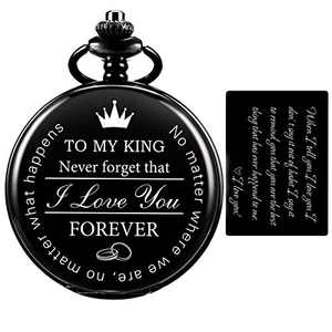 SIBOSUN Pocket Watch for Men Who Have Everything Birthday Gifts for Men Personalized Gifts for Husband Boyfriend (King) Engraved Black (1 Black)