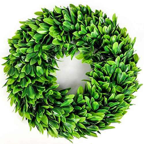 "Souarts 17"" Eucalyptus Wreath-Artificial Greenery Wreath Boxwood, Front Door Wreath for Indoor Outdoor, Home Office Wall Wedding Holiday Decor Spring Wreath Summer Wreath"