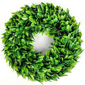 "Souarts 17"" Eucalyptus Wreath-Artificial Greenery Wreath Boxwood, Front Door Wreath for Indoor Outdoor, Home Office Wall Wedding Holiday Decor Spring Wreath Summer Wreath"