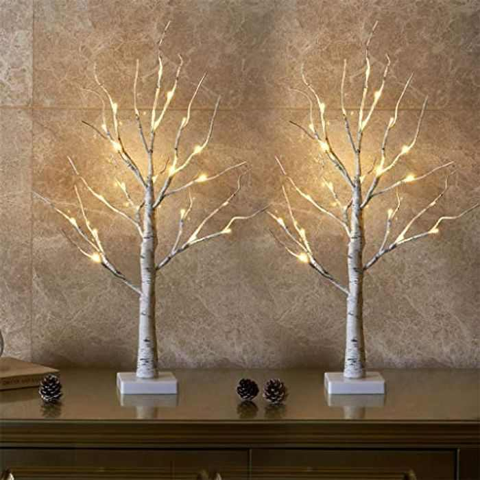 EAMBRITE Set of 2 Small Birch Twig Tree Lights Photo Display Tree with 24 Warm White LEDs Battery Operated Tabletop Decoration for Xmas Home Party Wedding (60cm/2ft)