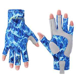 Tocawe Fishing Fingerless Gloves UV Protection Sun Gloves Waterproof Outdoor Gloves for Men Women (L/XL, Sea Blue)