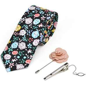 iHomor Men's Cotton Printed Floral Neck Tie Skinny Ties with Stainless Steel Tie Clip and Lapel Pin/Brooch Gift Set (blackpink)