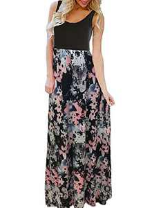 Bluetime Women's Summer Boho Sleeveless Floral Print Tank Long Maxi Dress Floral 1 XX-Large
